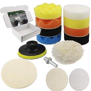 10Pcs 3 Inch Sponge Foam Waxing Buffing Polishing Pads Kit Drill Buffer Adapter