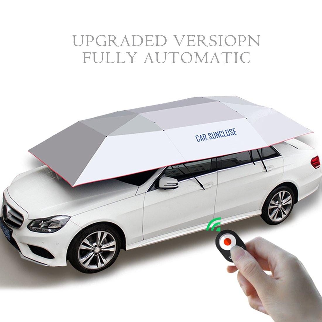 YIKESHU 半自動カーアンブレラ カーポート 車用自動テント 日よけ キャノピー折りたたみ ポータブル 車用傘 リモコン付き 88×161インチ シルバー シルバー シルバー 25W