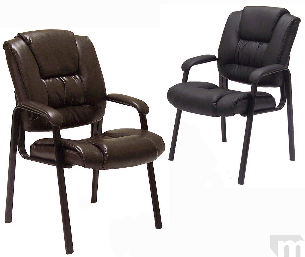 Deepクッションレザーゲスト椅子inブラック B00YOLJB74