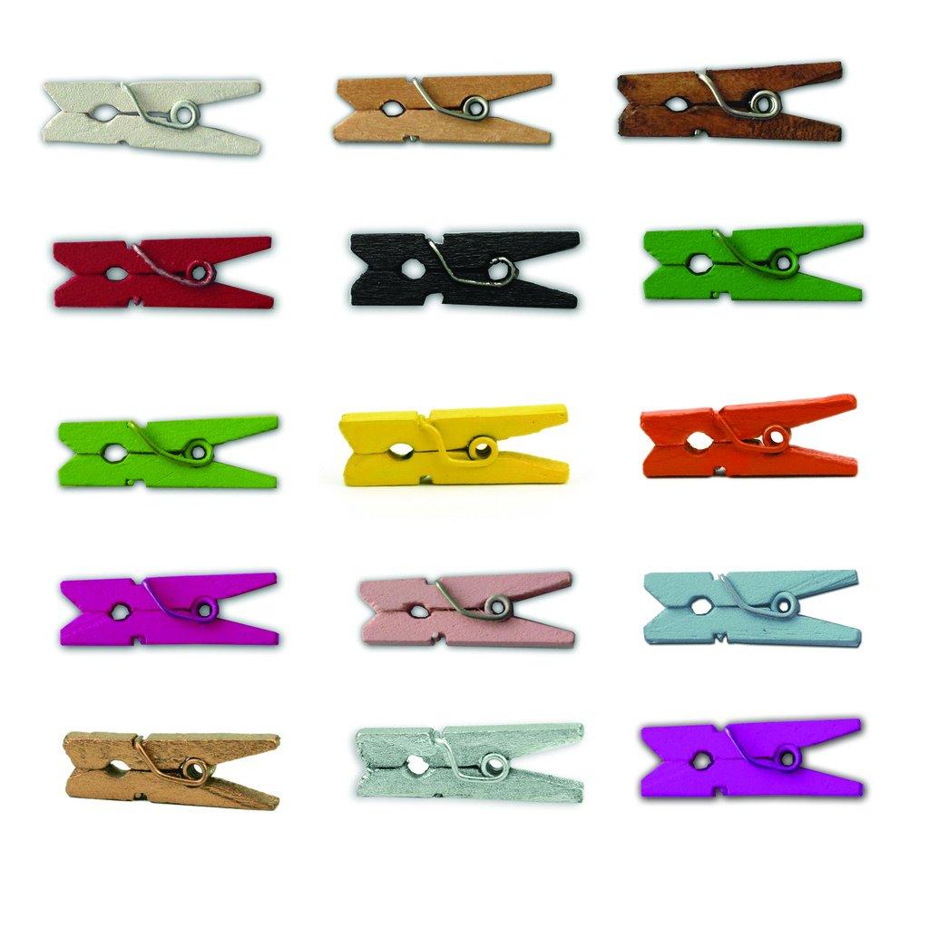 LWR Crafts Mini-Wä scheklammern, Holz, 15 Farben, 100 Pro Pack, 2,5 cm Orange CS024