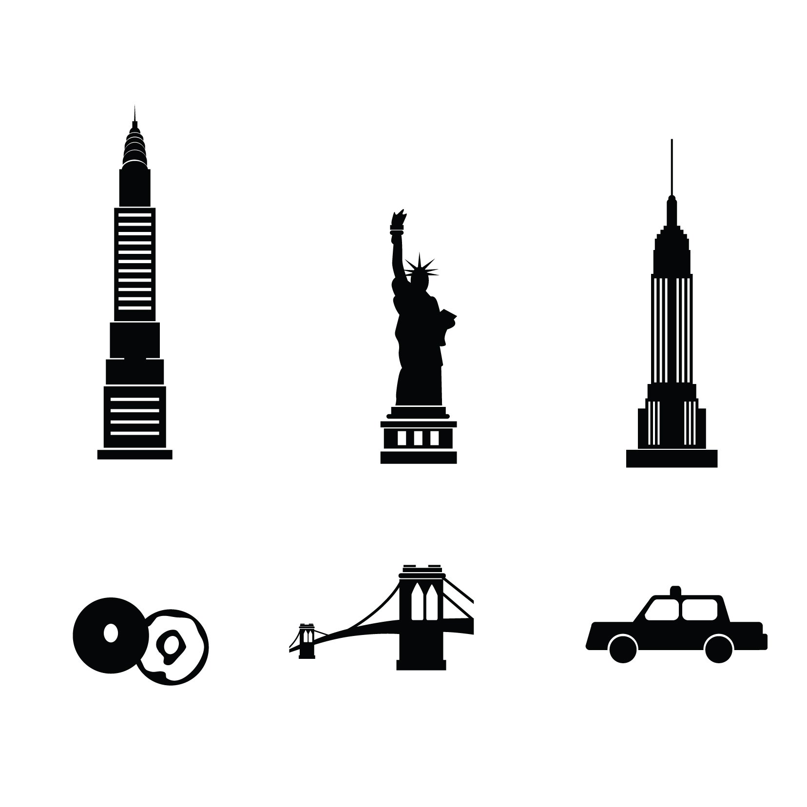 New York Icons - 5 sets, 30 icons - Vinyl Wall Art Decal for Homes, Offices, Kids Rooms, Nurseries, Schools, High Schools, Colleges, Universities, Interior Designers, Architects, Remodelers