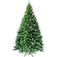 RS Trade HXT-Serie künstlicher Weihnachtsbäume 120-270 cm, schwer entflammbare Tannenbäume mit Schnellaufbau Klappsystem, inkl. Christbaum Ständer aus Metall