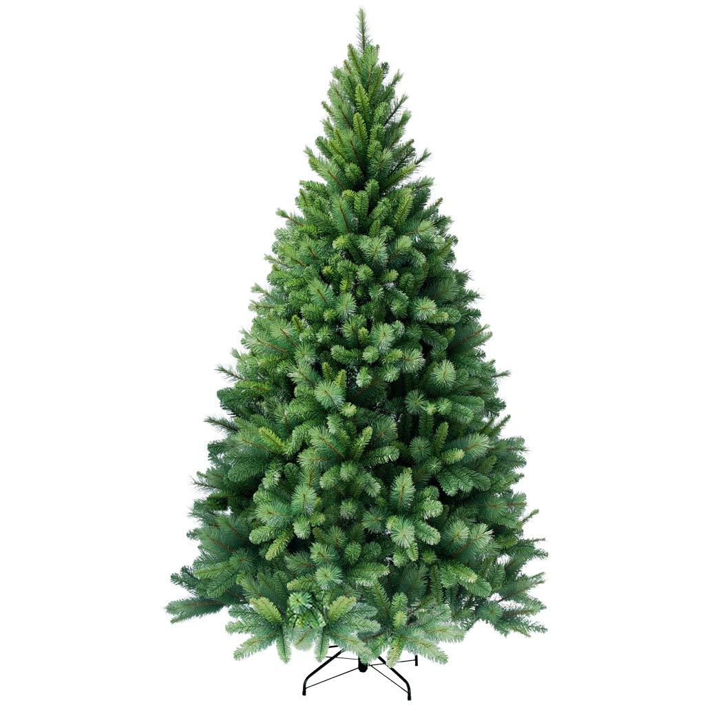 RS Trade® 210 cm hochwertiger, künstlicher PVC Weihnachtsbaum (Farbeado (Farbeado (Farbeado Mix), schwer entflammbar, mit Metallständer, sehr schneller Aufbau mit Klappsystem ca. 1160 Spitzen 12cc8f
