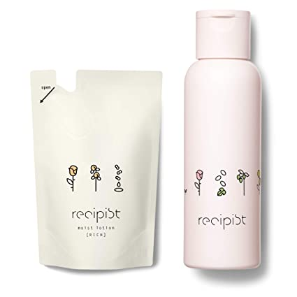 レシピスト しっかりうるおう化粧水 リッチ (しっとり) 詰め替え用 180mL + 選べるボトル (ピンク) 自然由来成分