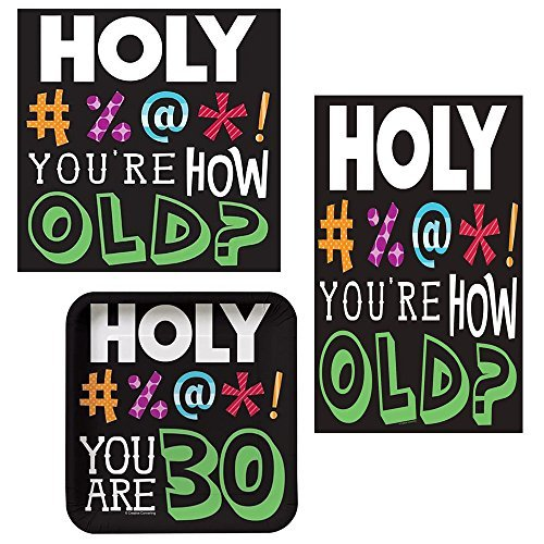 Holy Bleep 30 Tableware Pack for 16: Includes Napkins, Dessert Plates, and Plastic Tablecover