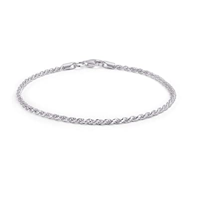 936c06c2e05 Simple Plain Rope Chain Anklet Ankle Bracelet For Women 925 Sterling Silver  50 Gauge Made In Italy 10 Inch: Amazon.co.uk: Jewellery