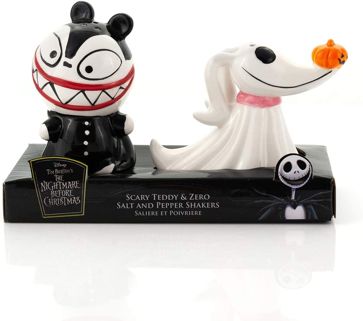 Nightmare Before Christmas Scary Teddy & Zero Ceramic Salt & Pepper Shakers - Fun Collectible Kitchen Accessory Set Featuring Tim Burton's Creepy Animated Movie Characters - Licensed 2