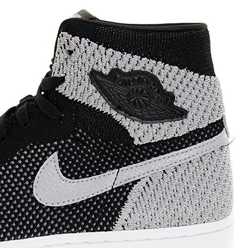 NIKE Jordan Mens Air 1 Retro Hi Flyknit, Black/Wolf Grey-White Black/Wolf Grey-white