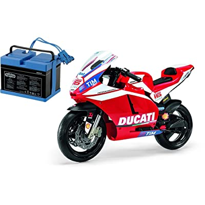 Peg Perego Ducati GP Motorcycle Ride On with Spare 12 Volt Battery: Toys & Games