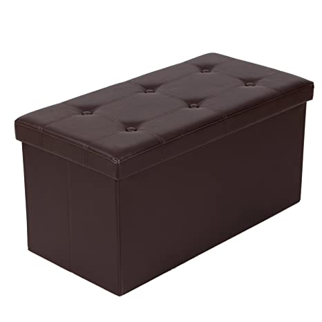 SONGMICS 30u0026quot; L Faux Leather Folding Storage Ottoman Bench, Storage  Chest/Footrest/