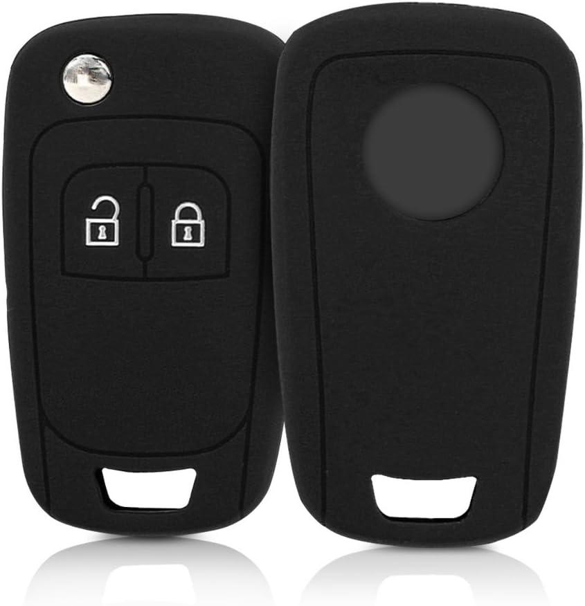 kwmobile Funda de Silicona para Llave Plegable de 2 Botones para Coche Opel Chevrolet - Carcasa Protectora Suave de Silicona - Case Mando de Auto Negro