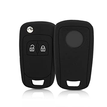 kwmobile Funda de Silicona para Llave Plegable de 2 Botones para Coche Opel - Carcasa Protectora [Suave] de [Silicona] - Case Mando de Auto [Negro]