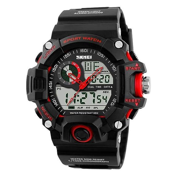 Relojes deportivos para hombre LED reloj digital multifuncional exterior 50M impermeable reloj de pulsera, rojo: Amazon.es: Relojes