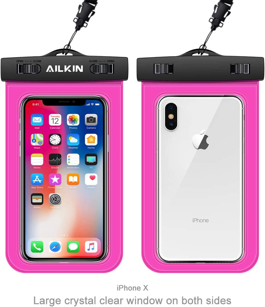 Underwater Cell Phone Case Protector Water Resistant Clear Dry Phone Holder for iPhone XR X 8 Plus 7 AILKIN Swimming Water Proof Bag Galaxy Note 9 S10E S10 Plus S9 S8 Waterproof Phone Pouch Pixel