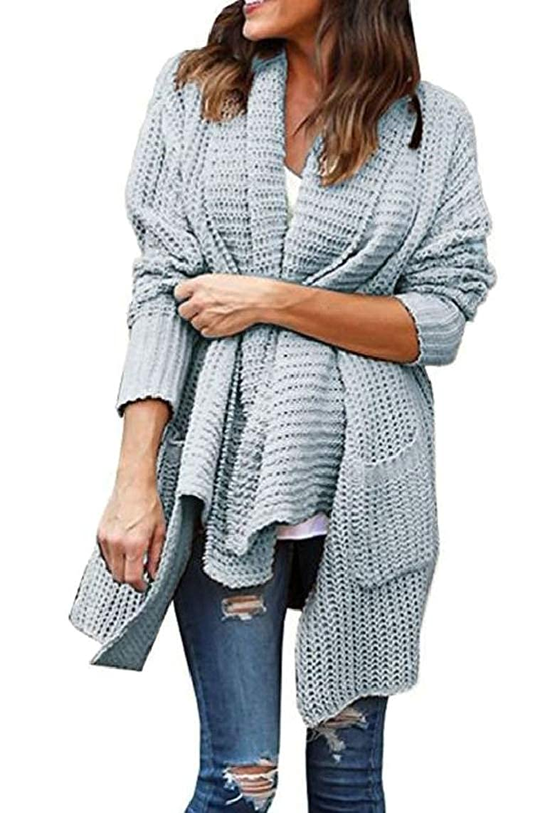 Grey Women's Turn Down Collar Chest Flap Loose Sweater Knitted Cardigan