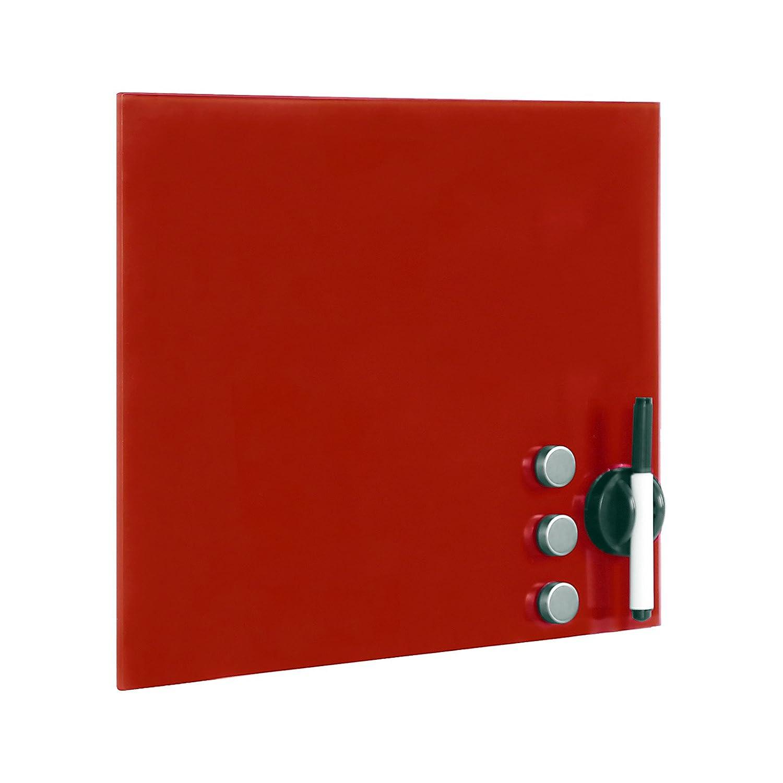 Lavagna di vetro magnetica rossa Lavagna da parete 45 x 45 cm WilTec