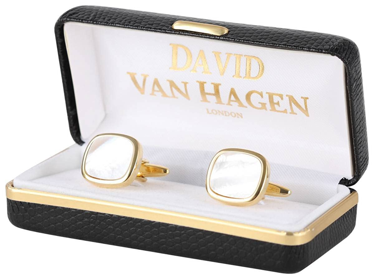 David Van Hagen Mens Gold Plated Mother of Pearl Square Cufflinks White//Gold
