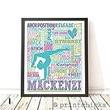 Gymnastics Personalized Typography Print -PrintChicks Gymnast Custom Poster Wall Decor