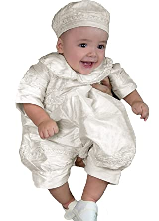 152b82e64 Amazon.com: Newdeve Baby-Boys White Christening Baptism Outfit with Bonnet:  Clothing
