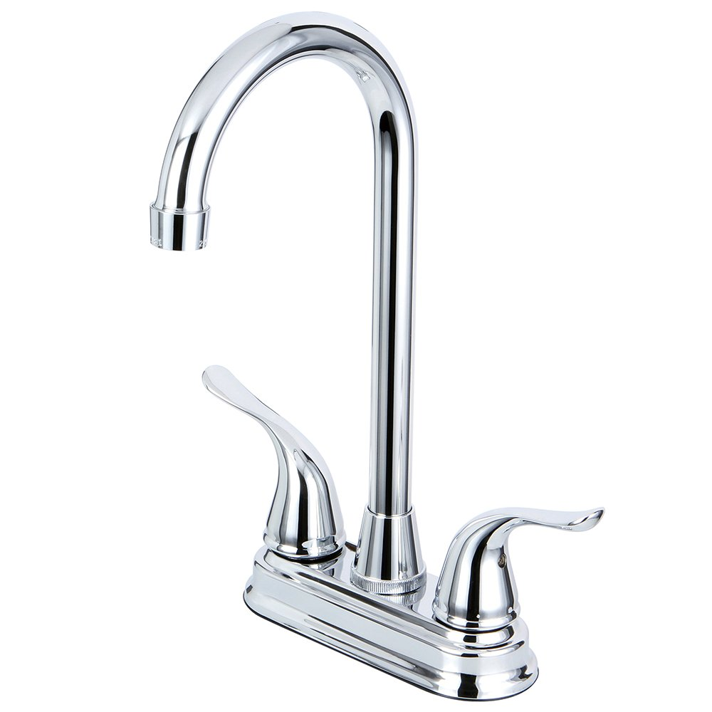 Kingston Brass KB2491YL Yosemite Two Handle 4 Inch Centerset Bar Faucet, Polished Chrome, 4-3/4 inch in Spout Reach, Polished Chrome