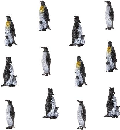 PINGUINI in plastica 12Pcs Oceano Modello Animale Figure Giocattoli Educativi Figura