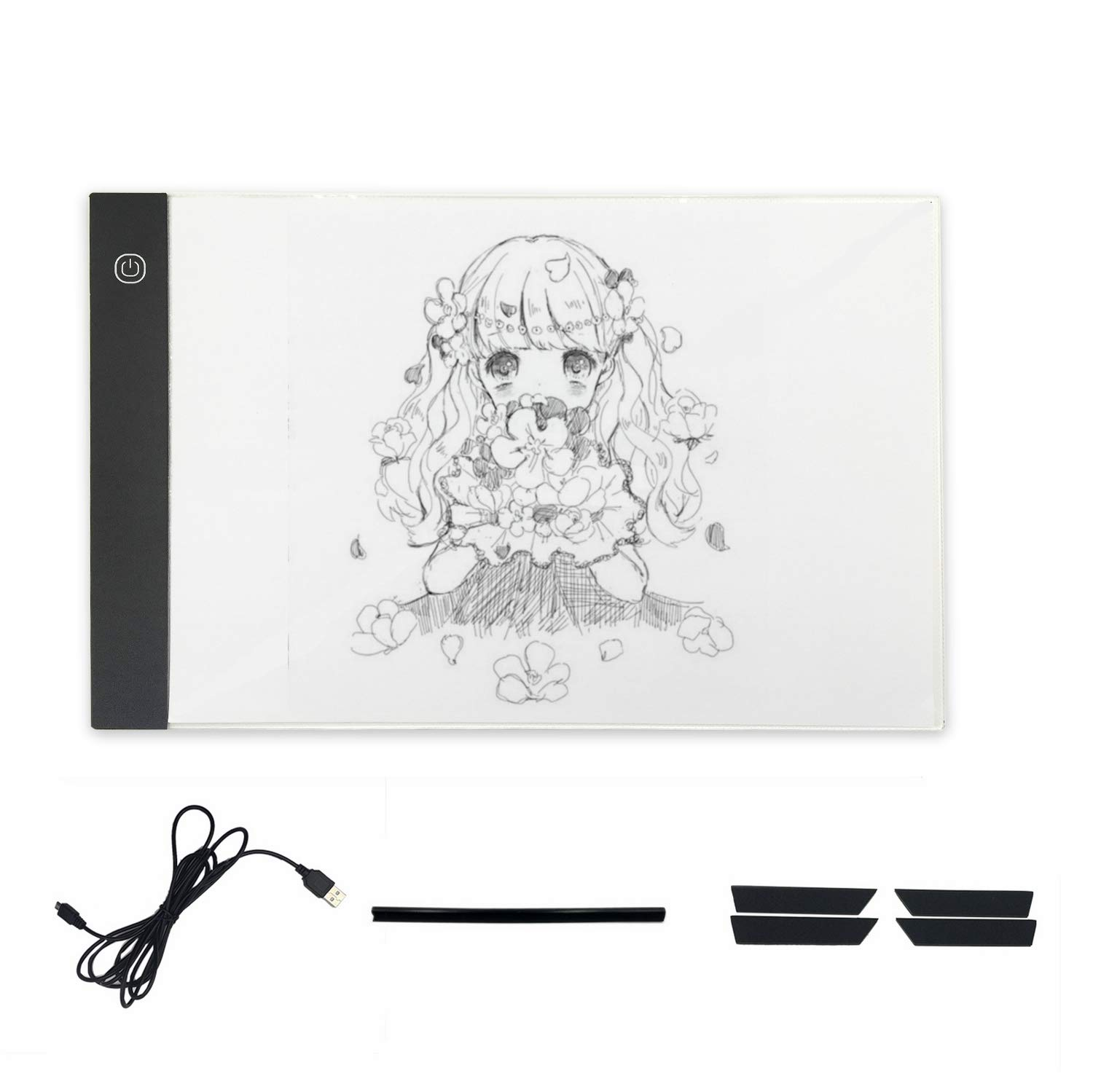 A4 LED Light Box Tracing, 3 Brightness Adjustable, Ultra-Thin Drawing Light Pad with USB Cable for Artists Animation, Design, Sketching, Drawing Lumsburry