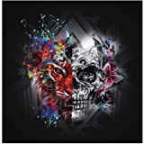 Halloween Tiger and Skull Diamond Painting - PigBoss 5D Full Drill Diamond Painting Kit Halloween Decor Art Gift Skull Diamond Embroidery Cross Stitch for Adult (11.8 x 11.8 inches)