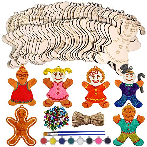 40 Set Unfinished Wooden Christmas Gingerbread Man Ornaments Paintable Wood Gingerman Family Dolls Gingerman Cutout Hanging Christmas Tree Ornaments for Holiday Kitchen Decor Kids Christmas Crafts Kit