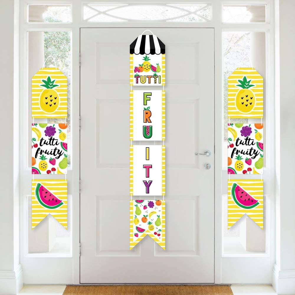 Big Dot of Happiness Tutti Fruity - Hanging Vertical Paper Door Banners - Frutti Summer Baby Shower or Birthday Party Wall Decoration Kit - Indoor Door Decor