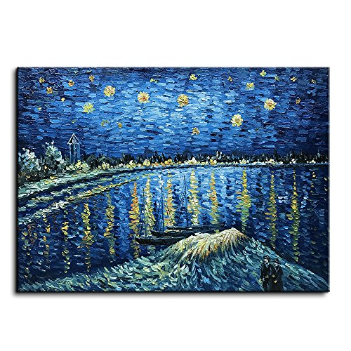 2012 Christmas Paintings - Baccow Handmade Starry Night Van Gogh Oil Paintings on Canvas, 3D Texture Abstract Contemporary Art Framed Wall Painting Pictures for Living Room Bedroom Bathroom Kitchen Office Home Decorations Gifts