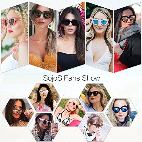 df2c8d12c45b6 SojoS Retro Vintage Cateye Sunglasses for Women Plastic Frame Mirrored Lens  SJ2939 With Matt Black Frame