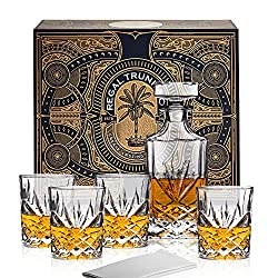 Diamond Cut Crystal Whiskey Decanter Set in a Spectacular Gift Box