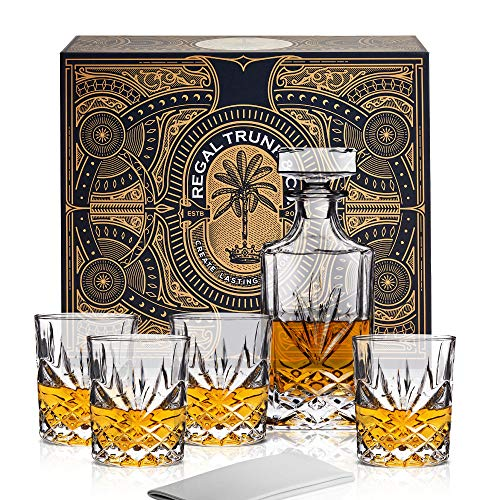 Classic Crystal 5 Piece Whiskey Decanter Set in a Spectacular Gift Box - Lead Free Crystal Glass Whiskey Decanter with 4 Whiskey Glasses | Bourbon Scotch Liquor Dispenser - Diamond Cut Design (Crystal Classic Decanter)