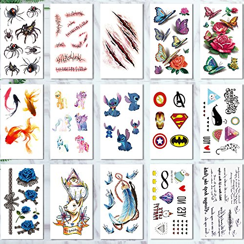 Leoars 15 Sheets Waterproof 3d Temporary Tattoo for Boys Girls Body Art Makeup Halloween Tattoo Sticker Scar, Spider, Butterfly, Rose -