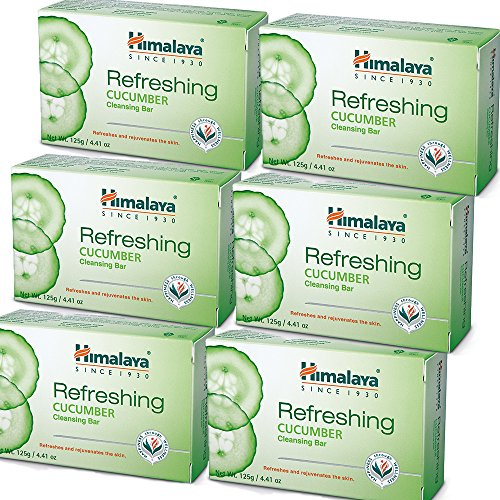 Himalaya Refreshing Cucumber Cleansing Bar (6 Pack), Body Soap to Freshen Up and Rejuvenate Your Skin, 4.41 oz (125 g)