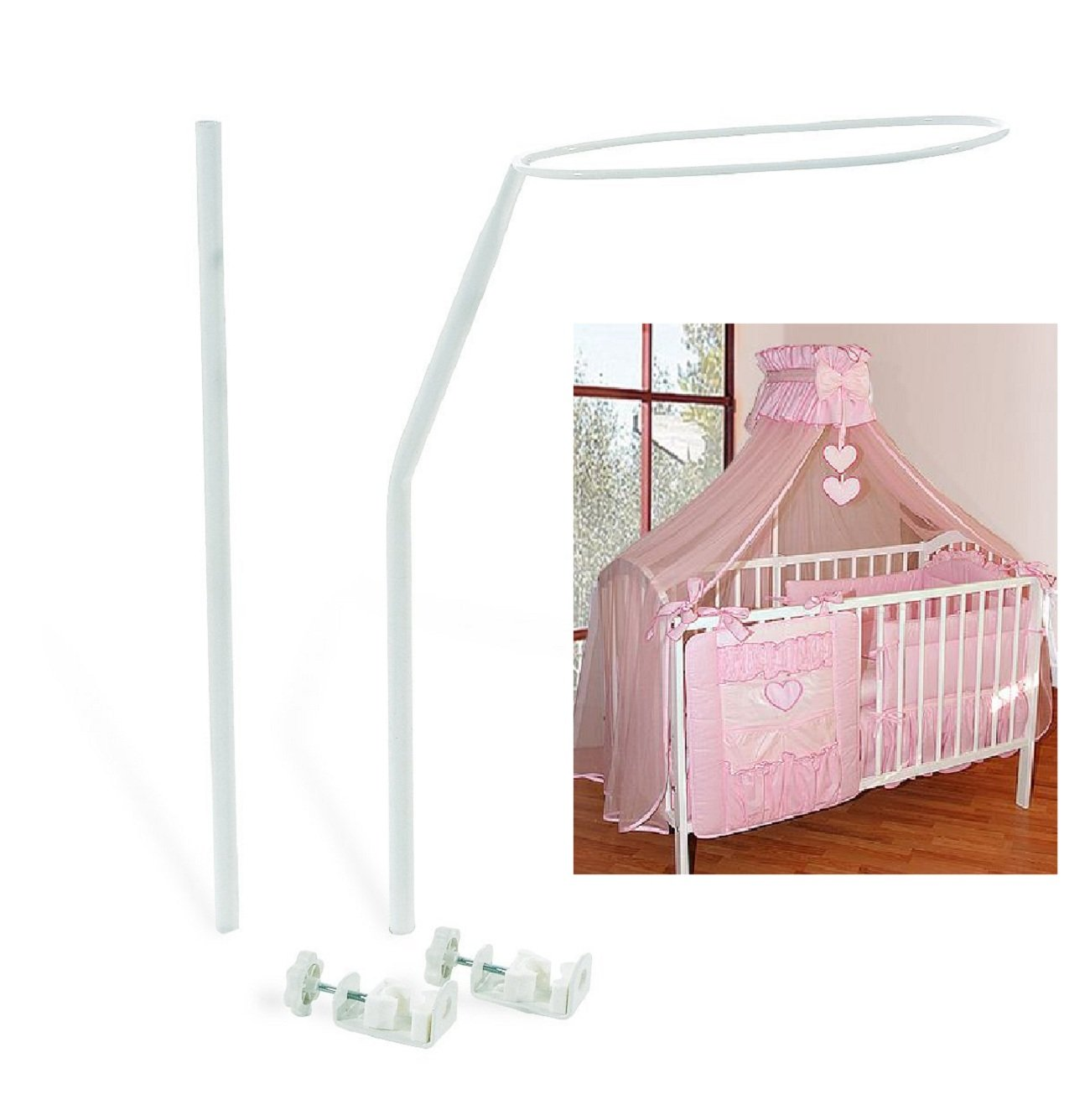 a998b58de3d Universal Canopy Drape Mosquito Net Holder Fits Any Baby Cot Bed Crib Basket   Amazon.co.uk  Baby