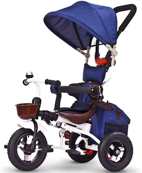 BGHKFF 4 En 1 Triciclo Beb/é Plegable 8 Meses A 6 A/ños 360/° Asiento Giratorio Triciclo Manual para Ni/ños Arn/és De 5 Puntos Cintur/ón De Seguridad Pedal De Triciclo Infantil Capacidad De Carga 50KG,Grey