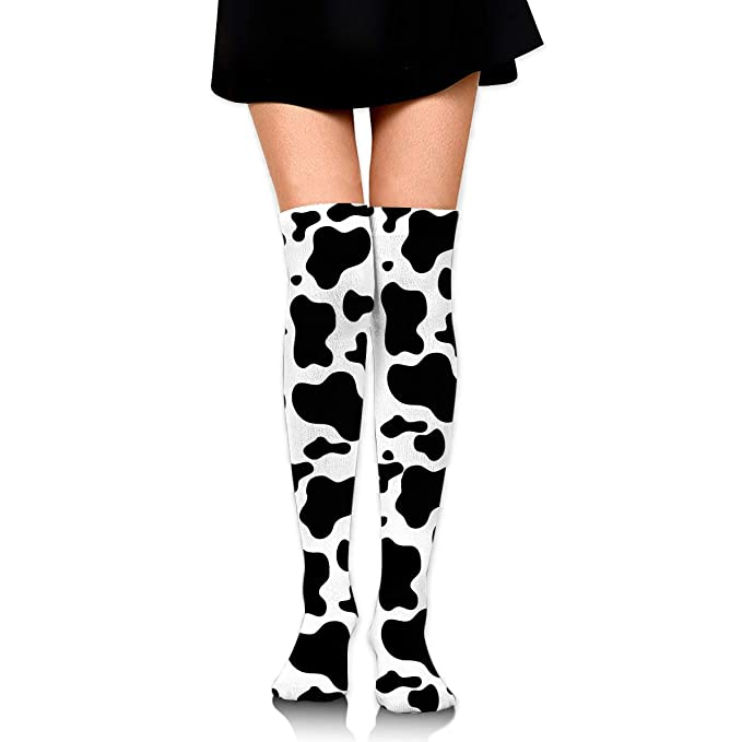 36243bd70ed ManIron Extra Long Mid Thigh High Socks Over The Knee High Boot Stockings  Cotton Leg Warmers Black White Milk Cow Spots Print at Amazon Women s  Clothing ...