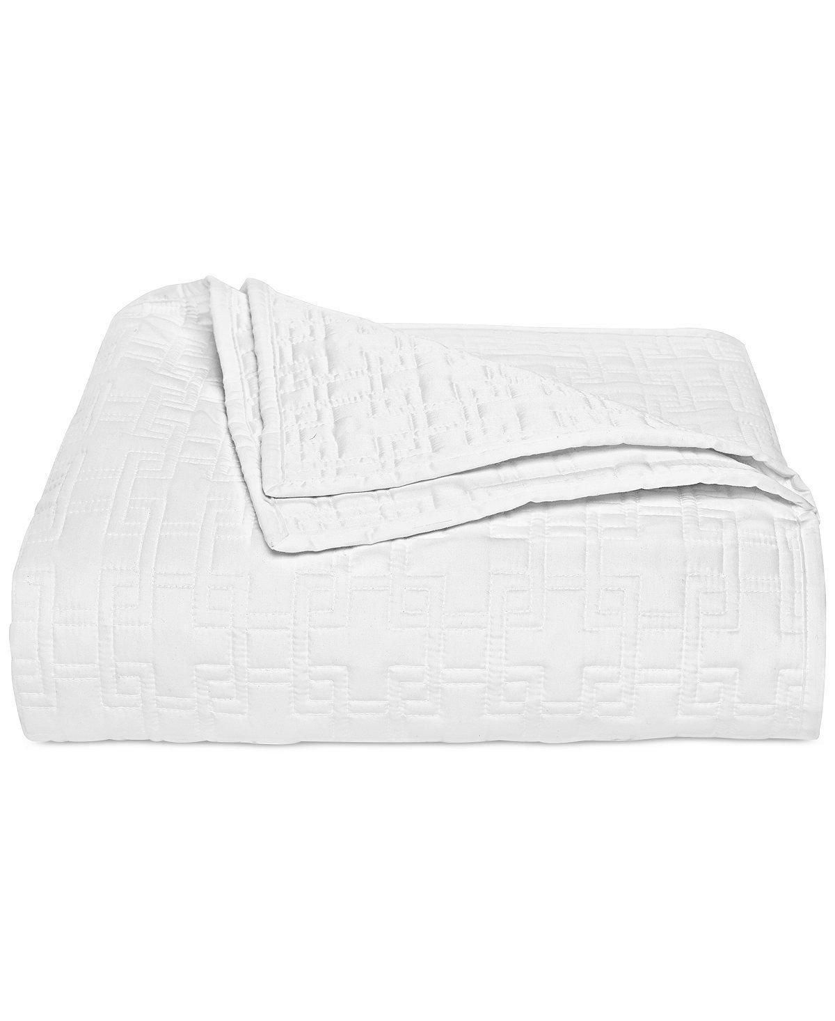 Hotel Collection bordado marco acolchado blanco rey edredón: Amazon ...