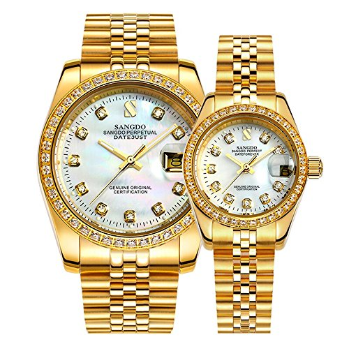 Full Gold Couple Watches Automatic Mechanical Gilded Steel Self-Wind Sapphire Glass Dress Watches Gift Set of 2 (White)