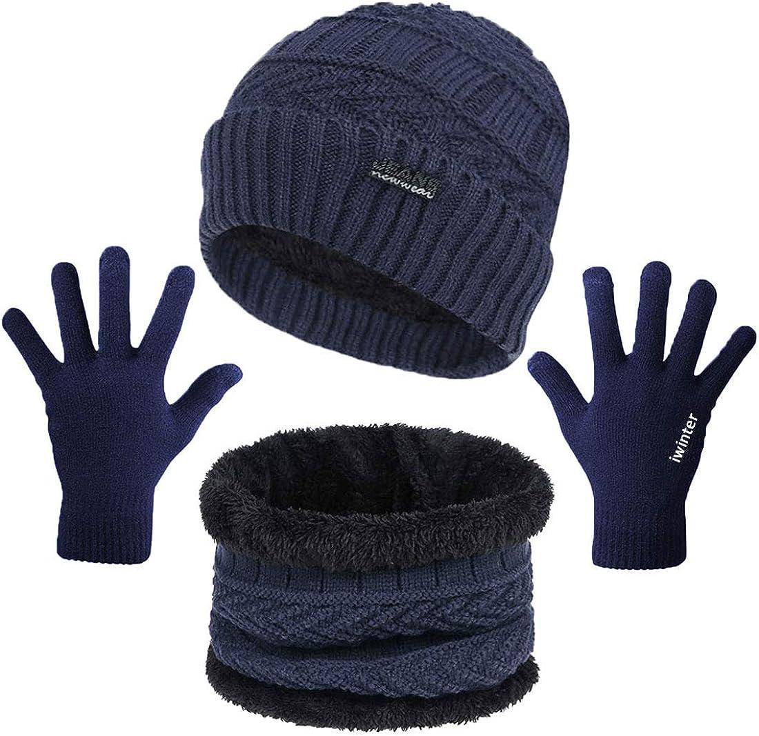 Gorro Invierno Hombre Con Bufanda Y Guantes Gorras Beanie De Punto Calentar Sombreros Para Hombre Mujer,Azul Sombreros Hombre Invierno Set De Bufanda Y Gorro Beanie Con Guantes De Pantalla T/áctil