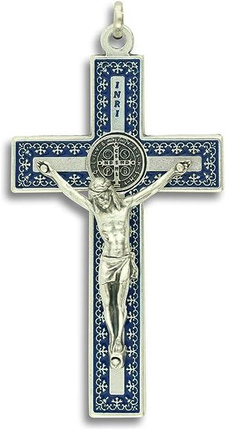 pewter Light Blue enamel 1 34 crucifix