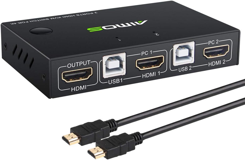 Aimos Hdmi Kvm Switch Usb 2 Ports Pc Computer Kvm Amazon De Computer Zubehor