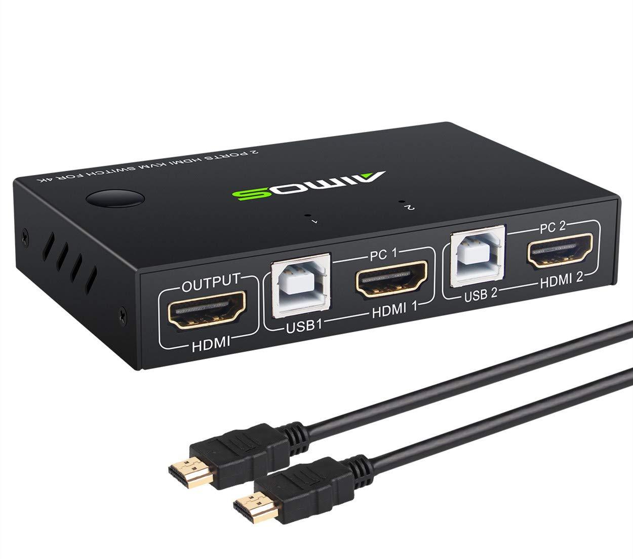 AIMOS USB 3.0 Switch Impresoras 2 Entradas y 4 Salidas USB Conmutador para Compartir 4 Dispositivos de Teclado Esc/áneres Disco Duro Rat/ón