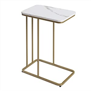 C Table Sofa Side End Tables for Living Room Couch Table,Mobile Snack Table, Slides Next to Sofa Couch, Laptop Table for Small Space,Wood Look TV Tray Over Bed Table Metal Frame (White) ET906-WH