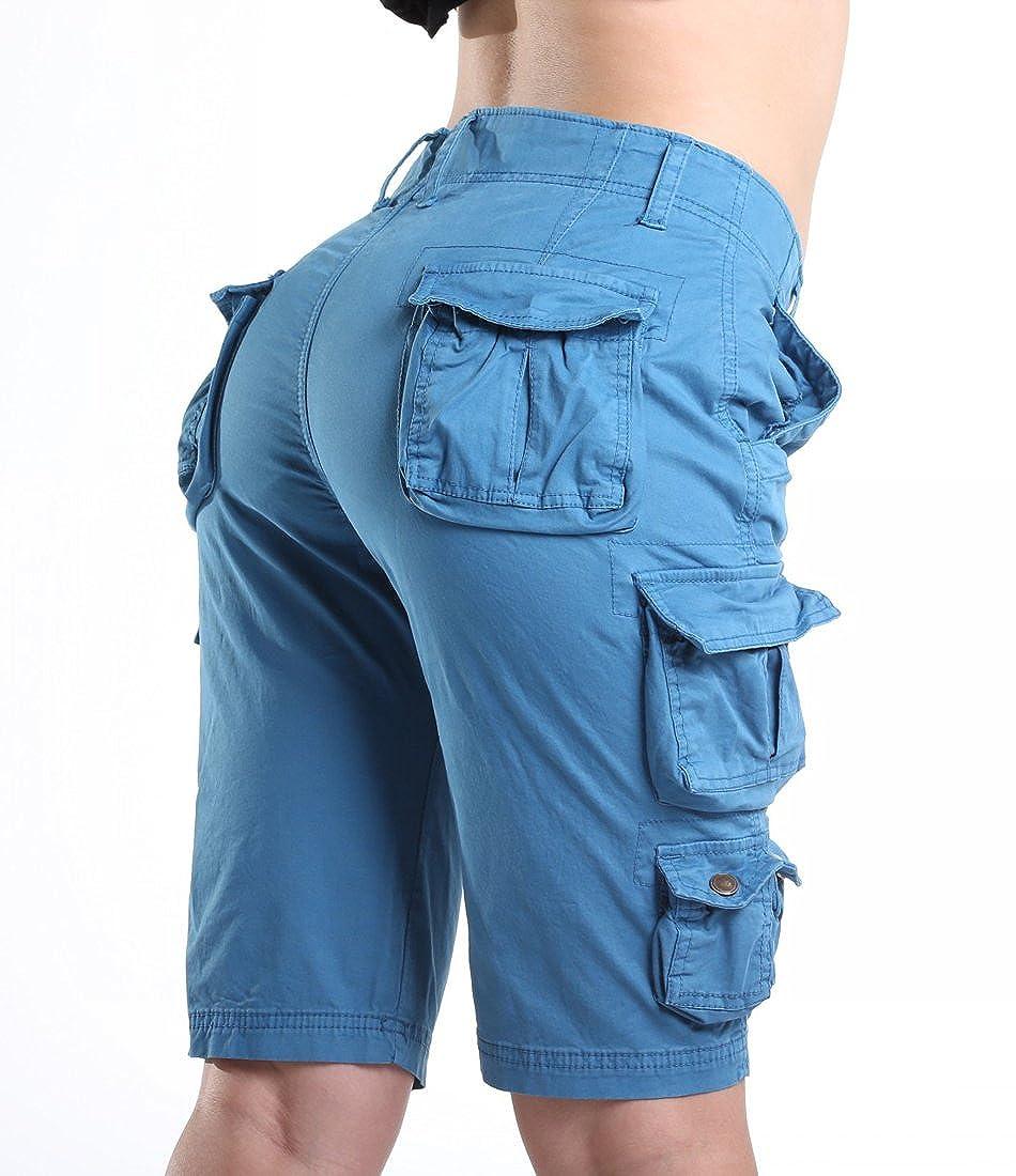 FOURSTEEDS Womens Cotton Zipper Front Multi-Pocket Twill Bermuda Women Cargo Shorts