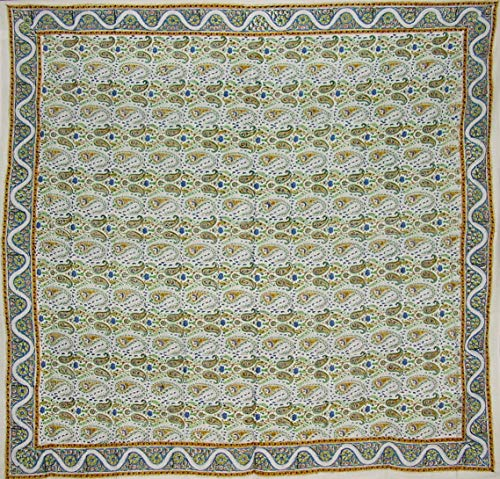 - India Arts Hand Block Printed Floral Square Cotton Tablecloth 72