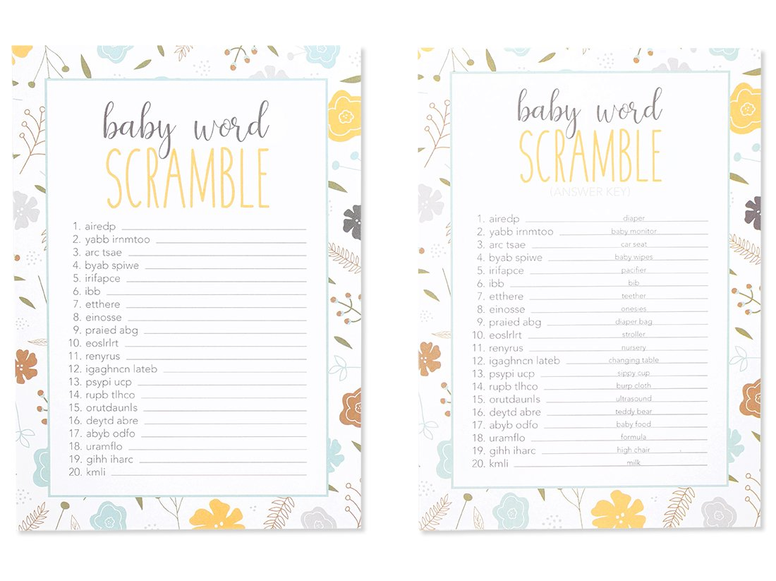 50 Baby Shower Game Sheets 2 Answer Key Word Scramble Party Games