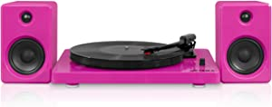 Victrola Modern 3-Speed Bluetooth Turntable with 50 Watt Speakers, Pink Piano Finish