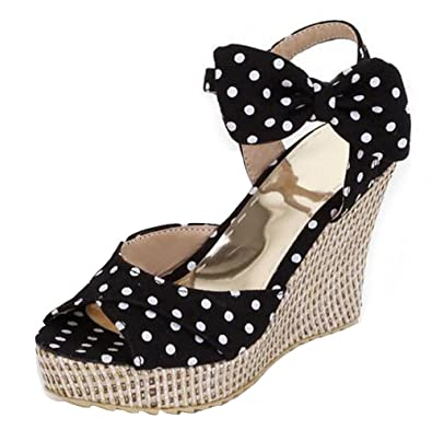 05e9559b4c1 Easemax Women s Cute Peep Toe Wedge Heels Canvas Sandals with Bow Black 4  B(M